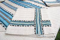Вышитая скатерть голубая, фото 1