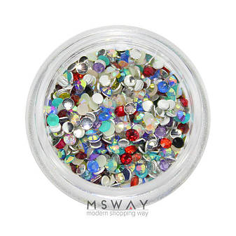 "KATTi Стразы (баночка) акриловые Acrylic Rhinestones ""Mono Gems"" 2мм Mixed AB (микс перелив цветов) 1г=700шт, фото 2"