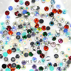 "KATTi Стразы (баночка) акриловые Acrylic Rhinestones ""Mono Gems"" 2мм Mixed AB (микс перелив цветов) 1г=700шт, фото 3"