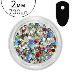 "KATTi Стразы (баночка) акриловые Acrylic Rhinestones ""Mono Gems"" 2мм Mixed AB (микс перелив цветов) 1г=700шт"