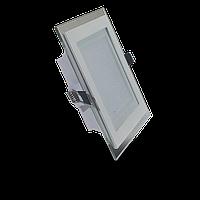 Светодиодная панель (врезная) квадрат 12Вт, 160мм, со стекляной рамкой, фото 1