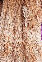 Плед покрывало двуспальное травка 220х240 Koloco светло коричневый