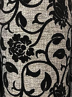 Рогожка флок цветы черные обивочная ткань для мебели
