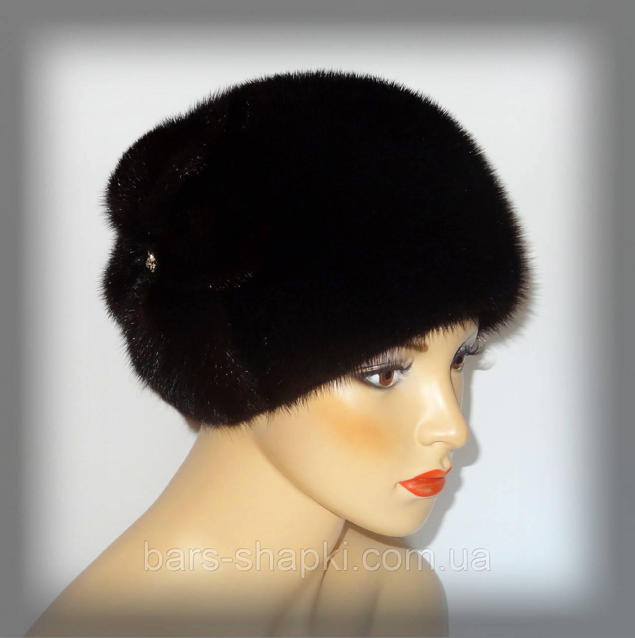 Женская норковая шапка тёмно-коричневая (цветок)