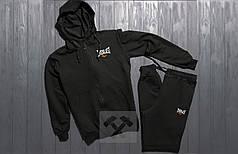 Весенний костюм спортивный Everlast с капюшоном черный топ реплика