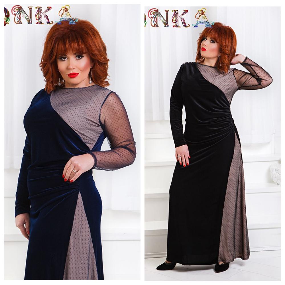 a6ca9c94d47 Нарядное бархатное длинное платье р1555 ГД Батал до 56р - Интернет -  магазин одежды Mixton в