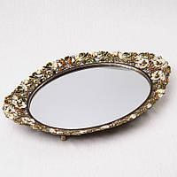 """Зеркальный поднос """"Бабочки в цветах"""" (35*26 см) металл, зеркало"""