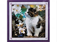 Набор для вышивки картины Котенок на клумбе 53х52см Код:373-37010736
