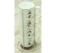 Набор кофейный на 4 персоны на подставке Детский сад Код:88-8718468