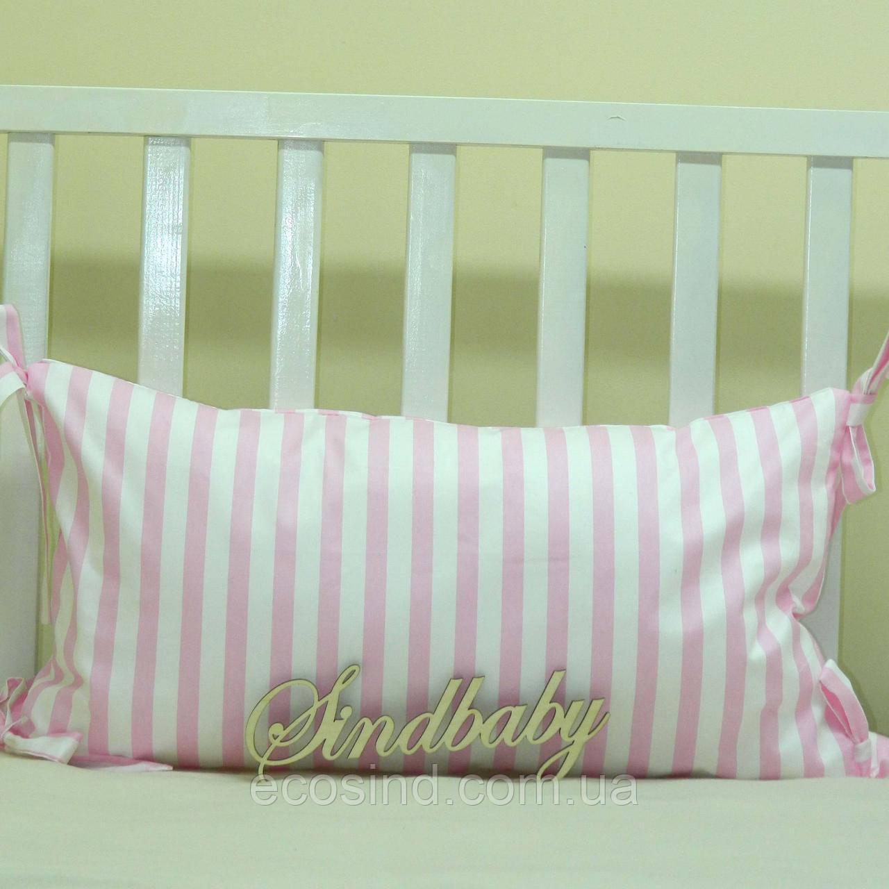 Бортики подушки в кроватку, Подушка сатин 30х60 -07