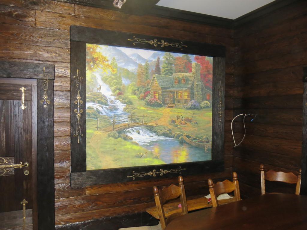Охотничий домик, оформление фреской.
