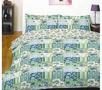 Постельное белье полуторный нежно зеленые цветочные кубики Вилюта Код:99-9715331