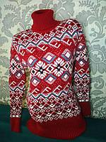 Теплый свитер-туника женский шерстяной с горлом.Производство Турция.