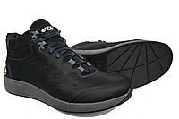 Зимние мужские кожаные спортивные ботинки Ecco Blue