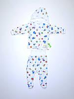 Детский комплект  (62 рост) белый с рисунками