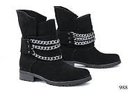 Женские ботинки с цепями замшевые черные  988 Код:591455355