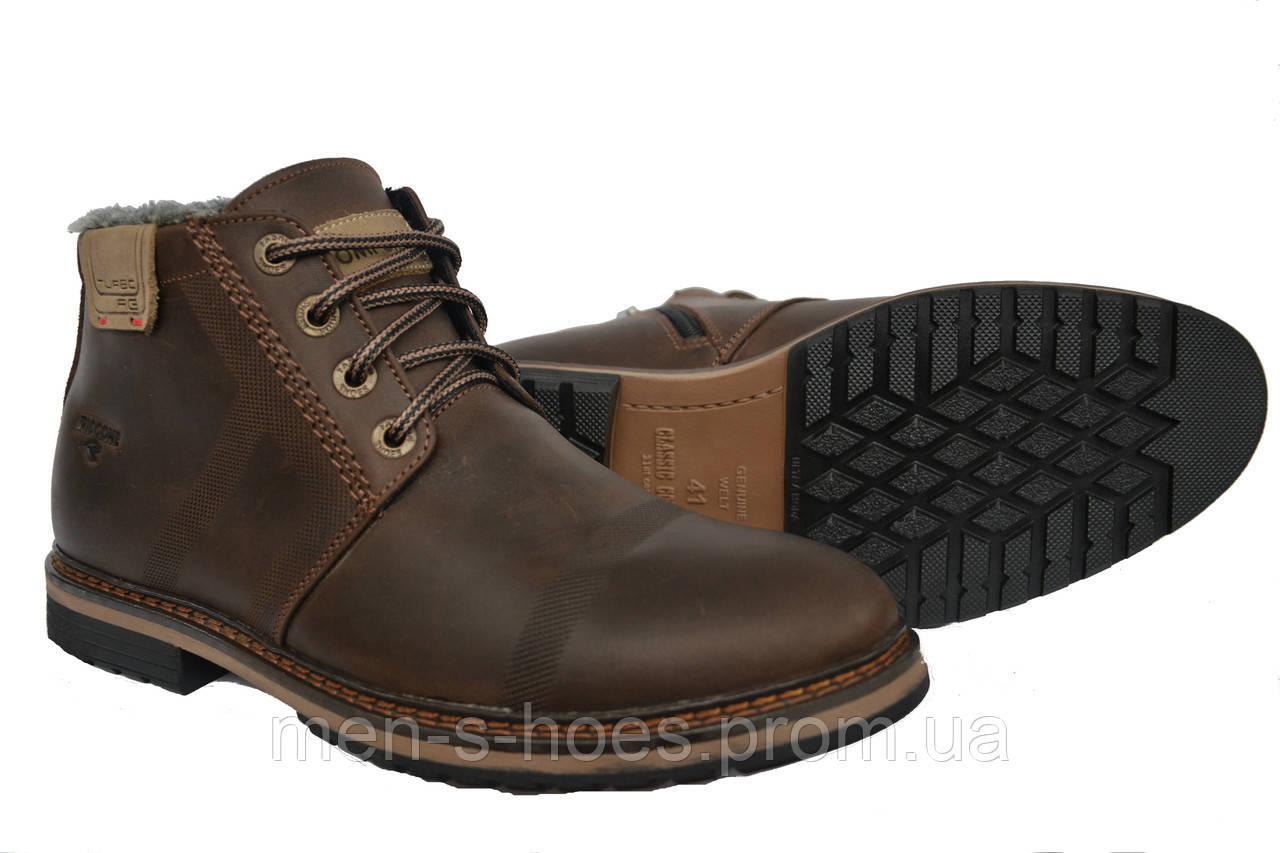 Кожаные повседневные мужские зимние ботинки Riccone Brown