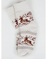 """Белые вязаные женские носки """"Олень"""" - 1341 Код:10747"""