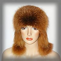 Женская ушанка из рыжей лисы