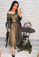 Женская плиссированная бархатная юбка