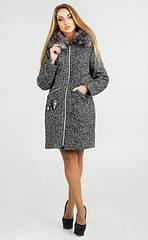 Зимнее женское пальто Дания с капюшоном, синяя паркетка, 4 размера