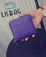 Женский маленький милый кошелек на молнии тиснёный фиолетовый