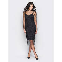 9be7d48b997d485 Элегантное вечернее платье приталенного кроя с сеточкой с блеском черный