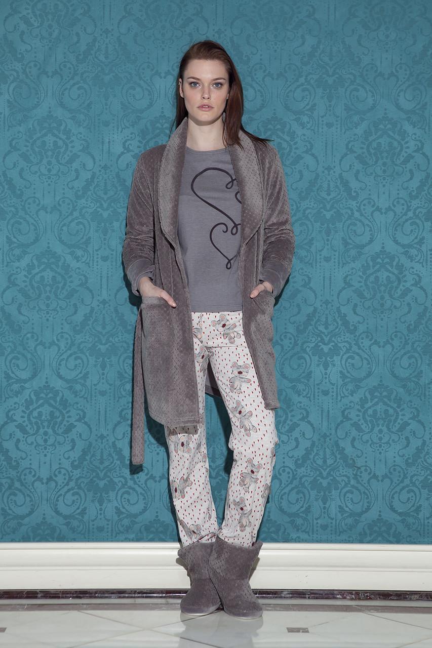 Повсякденний жіночий костюм-трійка для дому із халатом HAYS 17057