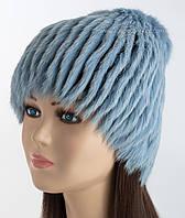 Меховая шапочка Сноп голубого цвета