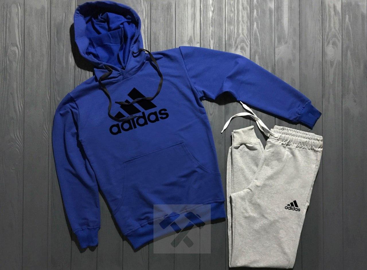 Весенний костюм спортивный Adidas с капюшоном синий верх топ реплика