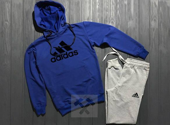 Весенний костюм спортивный Adidas с капюшоном синий верх топ реплика, фото 2