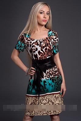 Платье летнее с тигровым принтом 46 48