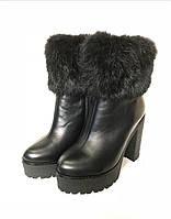 Ботинки/ботильоны/сапоги женские на высоком каблуке зимние из замши/кожи/меха кролика черные 0001КОМ