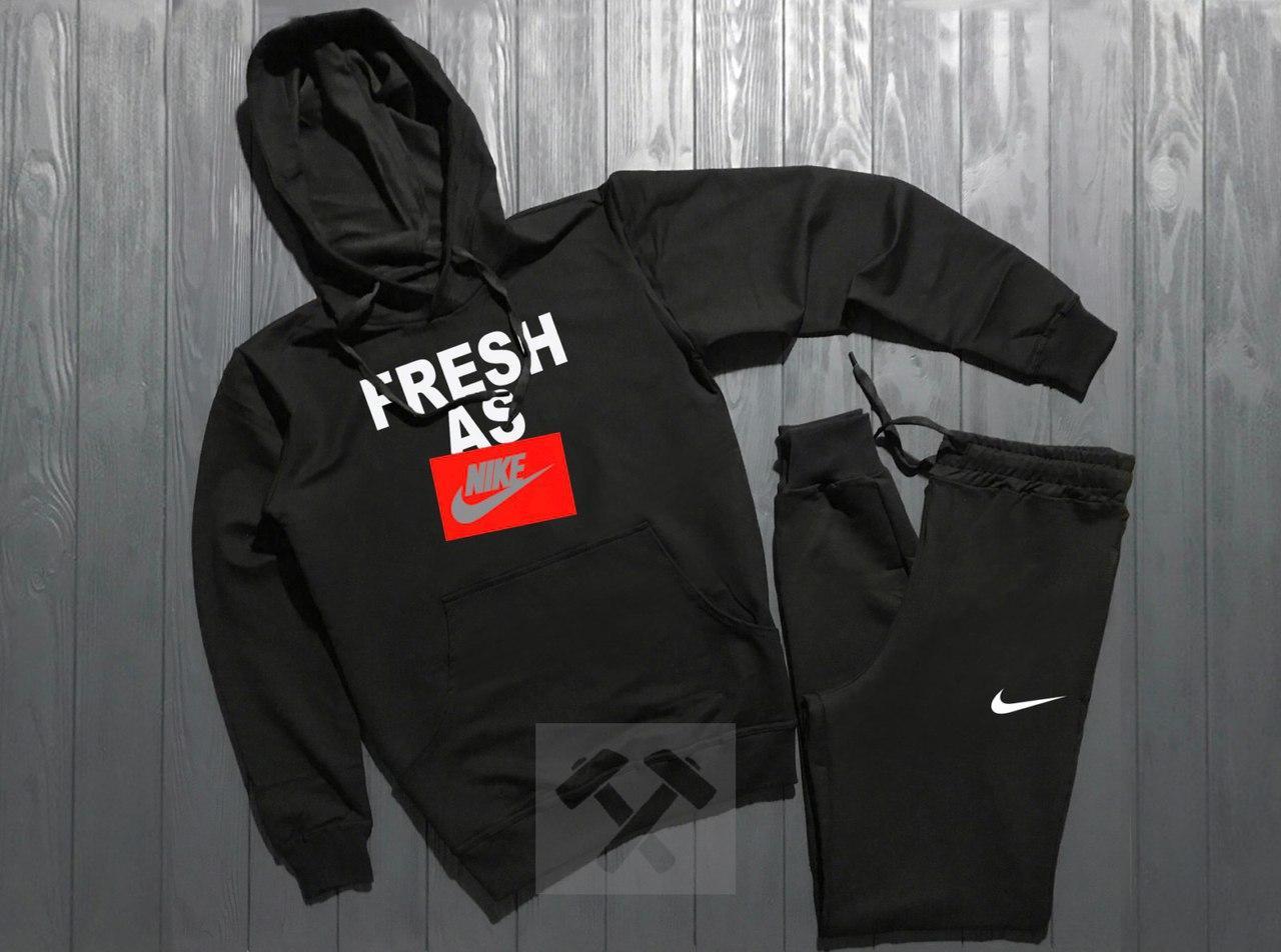 Весенний костюм спортивный Nike с капюшоном черный топ реплика