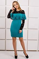 Платье цвета бирюзы с префорацией, фото 1