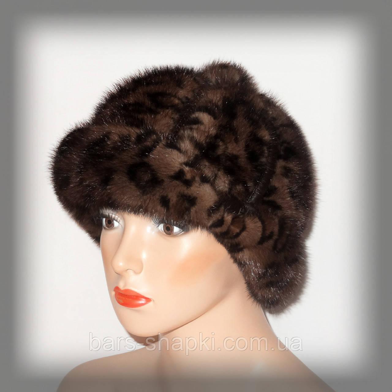 Женская меховая шапка из леопардовой норки