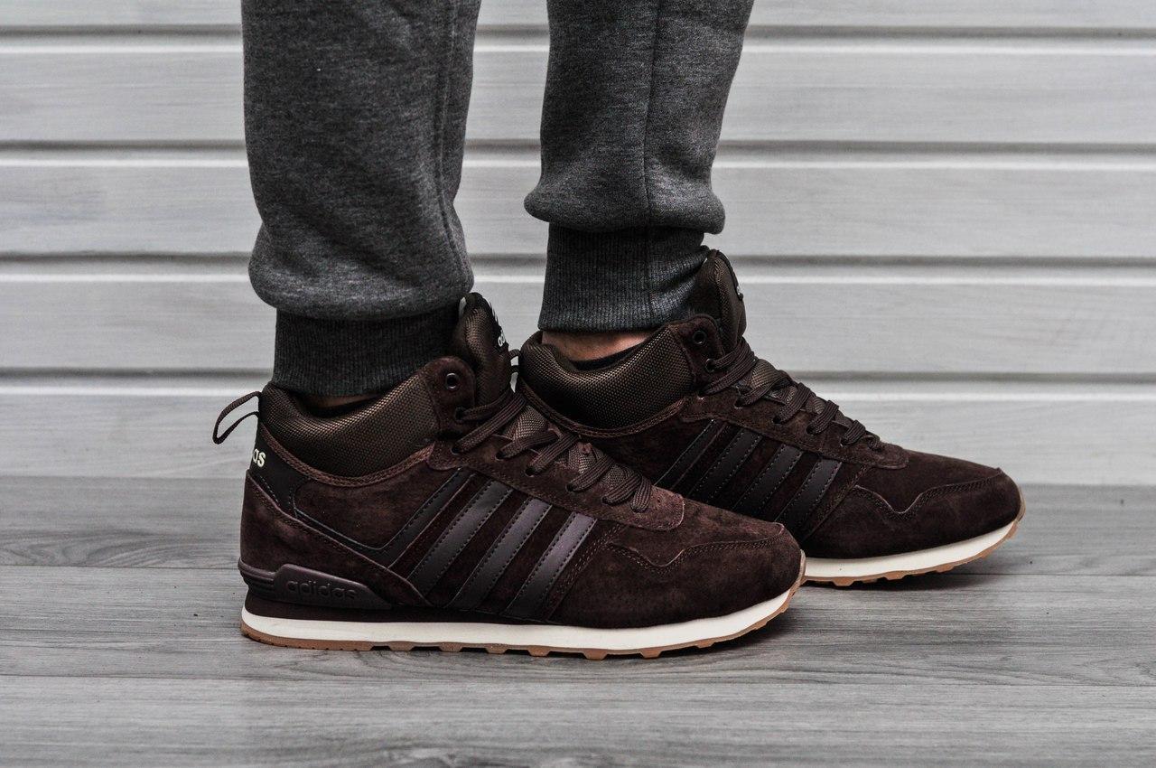 Кроссовки Adidas neo new мужские зима (коричневые), ТОП-реплика ... c25a34c9b1d