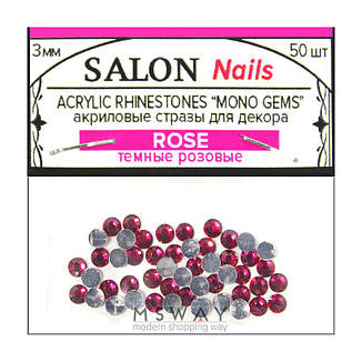 """SA Стразы пакет акриловые Acrylic Rhinestones """"Mono Gems"""" 3мм Rose (темные розовые) 50шт, фото 2"""
