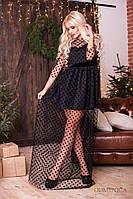 Праздничное оригинальное платье-двойка короткое+длинное сетка в горох