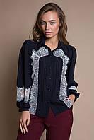 Блуза с кружевом ELSA темно-синяя