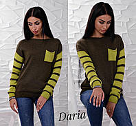 Женский вязаный свитер с полосатыми рукавами, пр-во Турция (разные цвета)