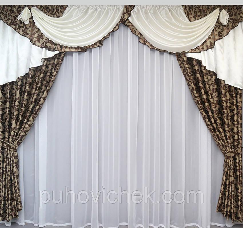Готовые шторы с ламбрекеном модные с рисунком