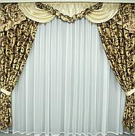 Комплект шторы и ламбрекен из плотной ткани