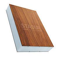 Сэндвич-панель Stadur темный дуб (Renolit 2052_089_116700) / белый, 3050х1300х24 мм