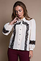 Блуза с кружевом ELSA бежевая