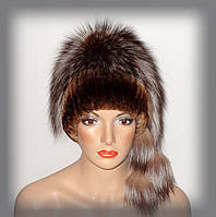 Меховая женская шапка из чернобурки (комбинированная с Rex Rabbit)