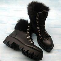 Ботинки женские осень-весна/зима натуральные кожаные с меховой опушкой (кролик) черные 0117АЛМ