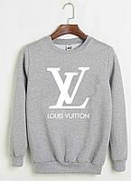 Свитшот Louis Vuitton серый с белым логотипом , унисекс (мужской,женский,детский)