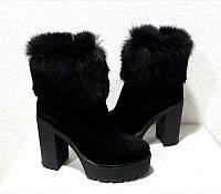 Ботинки/ботильоны/сапоги женские на высоком каблуке зимние натуральные замша/кожа/мех кролика черные Ko0001