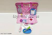 Детский набор доктора врача 2001-08  халат, стетоскоп, шприц, термометр в сумке 41*22*18 см.